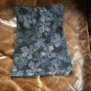 Express strapless tube top grey floral pattern